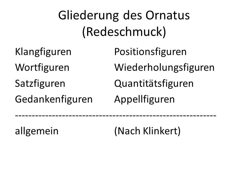 Gliederung des Ornatus (Redeschmuck) KlangfigurenPositionsfiguren WortfigurenWiederholungsfiguren SatzfigurenQuantitätsfiguren GedankenfigurenAppellfi