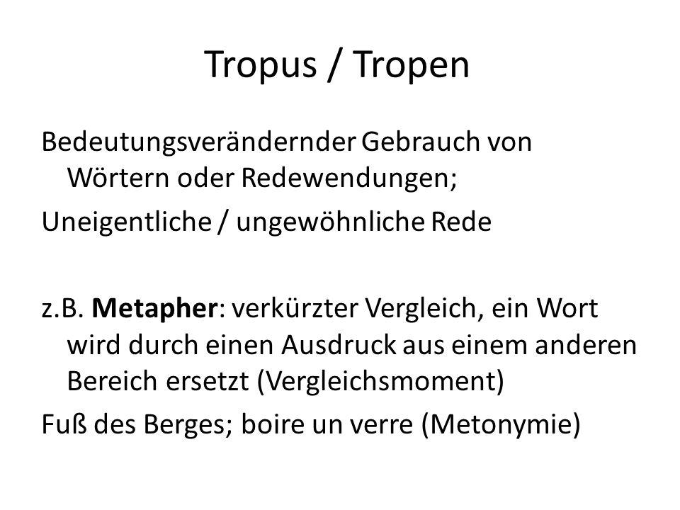 Tropus / Tropen Bedeutungsverändernder Gebrauch von Wörtern oder Redewendungen; Uneigentliche / ungewöhnliche Rede z.B. Metapher: verkürzter Vergleich