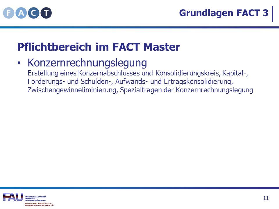 Grundlagen FACT 3 Pflichtbereich im FACT Master Konzernrechnungslegung Erstellung eines Konzernabschlusses und Konsolidierungskreis, Kapital-, Forderu