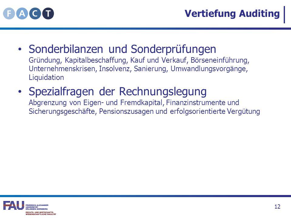 Vertiefung Auditing Sonderbilanzen und Sonderprüfungen Gründung, Kapitalbeschaffung, Kauf und Verkauf, Börseneinführung, Unternehmenskrisen, Insolvenz