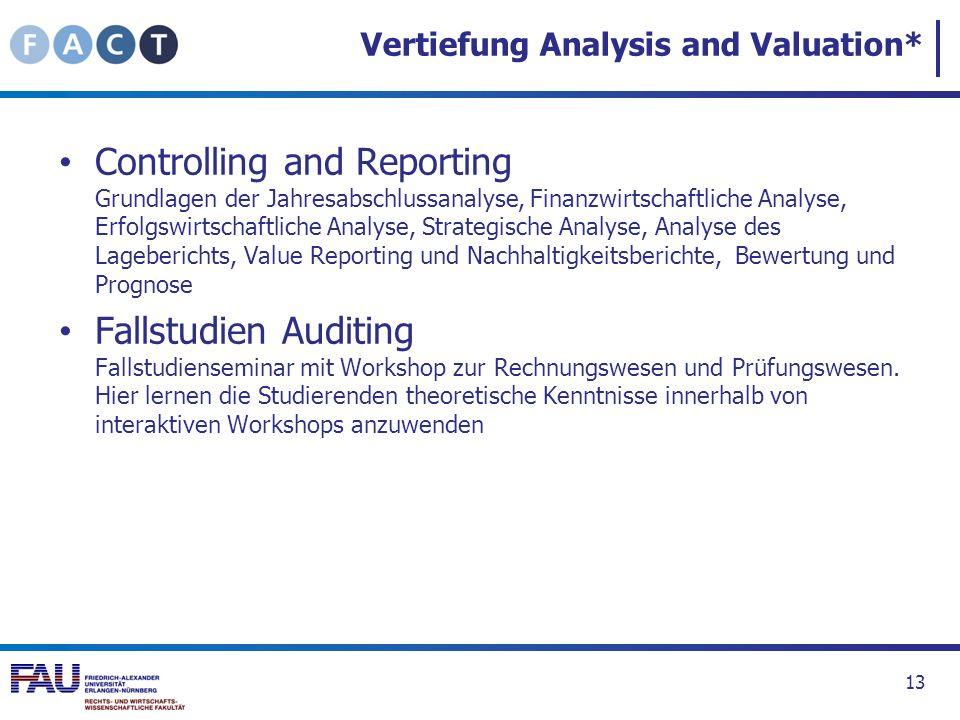 Vertiefung Analysis and Valuation* Controlling and Reporting Grundlagen der Jahresabschlussanalyse, Finanzwirtschaftliche Analyse, Erfolgswirtschaftli