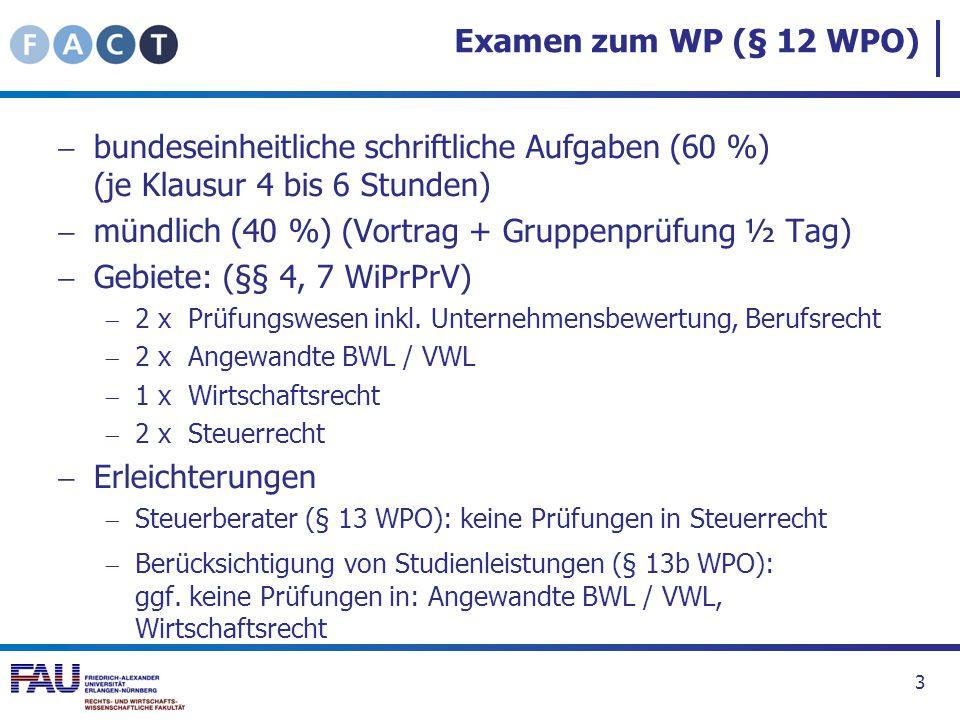 Examen zum WP (§ 12 WPO) bundeseinheitliche schriftliche Aufgaben (60 %) (je Klausur 4 bis 6 Stunden) mündlich (40 %) (Vortrag + Gruppenprüfung ½ Tag)