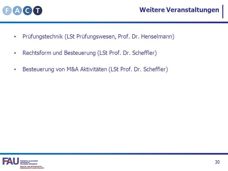 Weitere Veranstaltungen Prüfungstechnik (LSt Prüfungswesen, Prof. Dr. Henselmann) Rechtsform und Besteuerung (LSt Prof. Dr. Scheffler) Besteuerung von