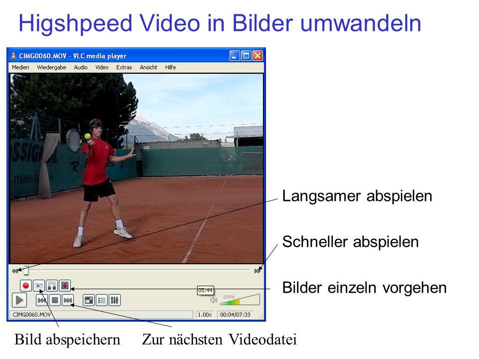 Higshpeed Video in Bilder umwandeln Langsamer abspielen Schneller abspielen Bilder einzeln vorgehen Bild abspeichern Zur nächsten Videodatei