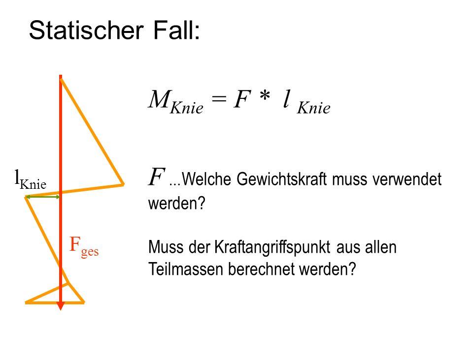 Statischer Fall: F ges l Knie M Knie = F * l Knie F … Welche Gewichtskraft muss verwendet werden? Muss der Kraftangriffspunkt aus allen Teilmassen ber