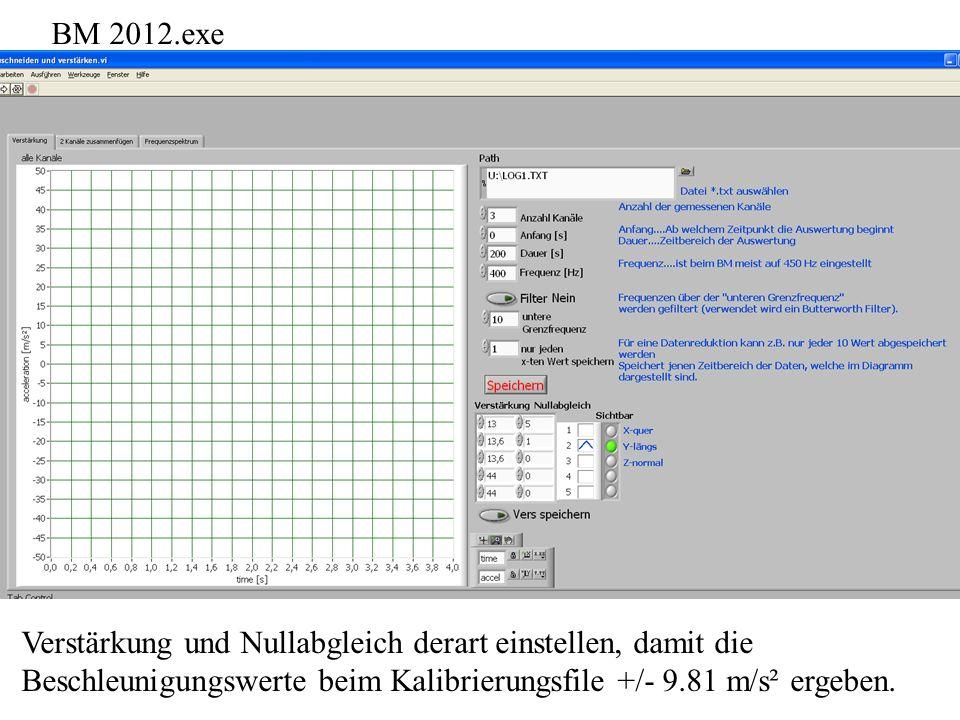 BM 2012.exe Verstärkung und Nullabgleich derart einstellen, damit die Beschleunigungswerte beim Kalibrierungsfile +/- 9.81 m/s² ergeben.
