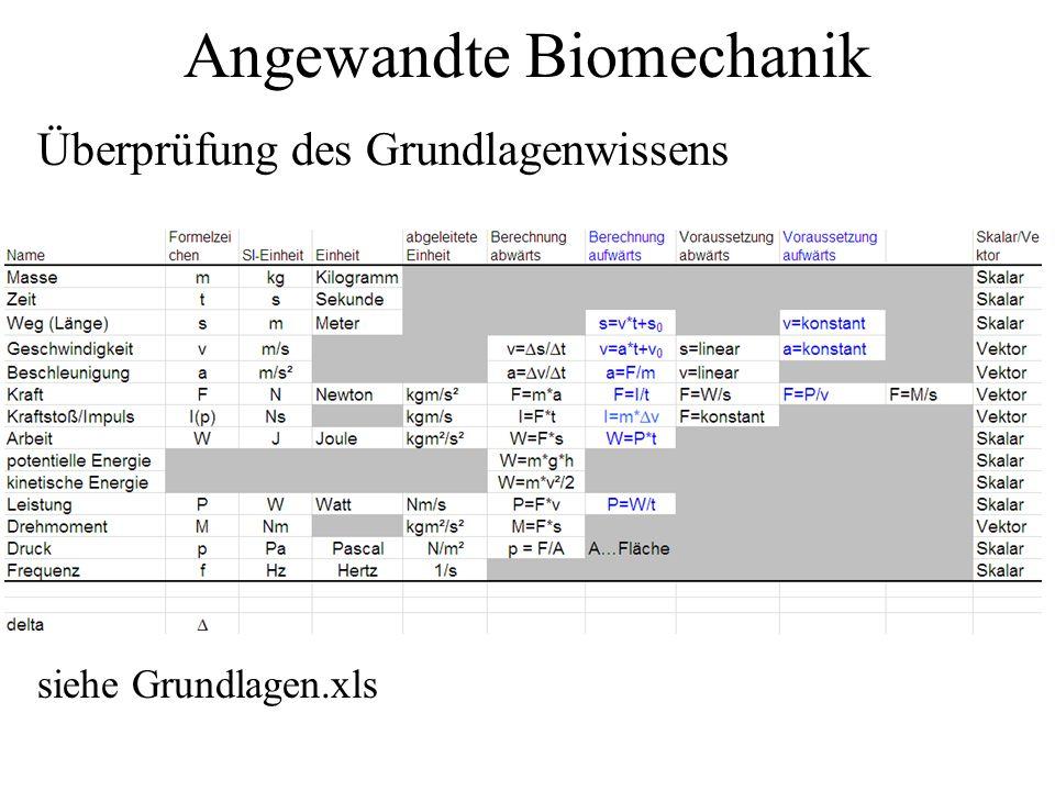 Angewandte Biomechanik Überprüfung des Grundlagenwissens siehe Grundlagen.xls