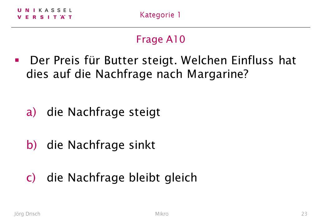 Frage A10 Der Preis für Butter steigt.Welchen Einfluss hat dies auf die Nachfrage nach Margarine.