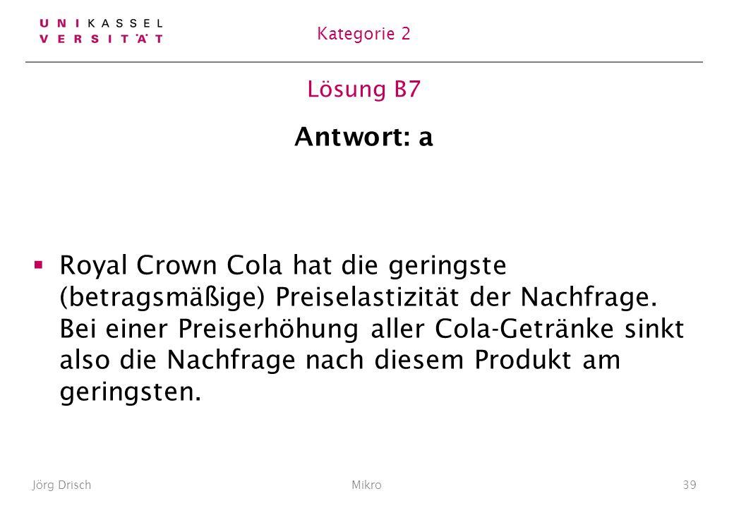 Lösung B7 Antwort: a Royal Crown Cola hat die geringste (betragsmäßige) Preiselastizität der Nachfrage.