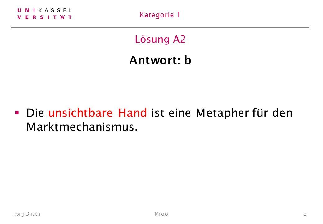 Lösung A2 Antwort: b Die unsichtbare Hand ist eine Metapher für den Marktmechanismus.