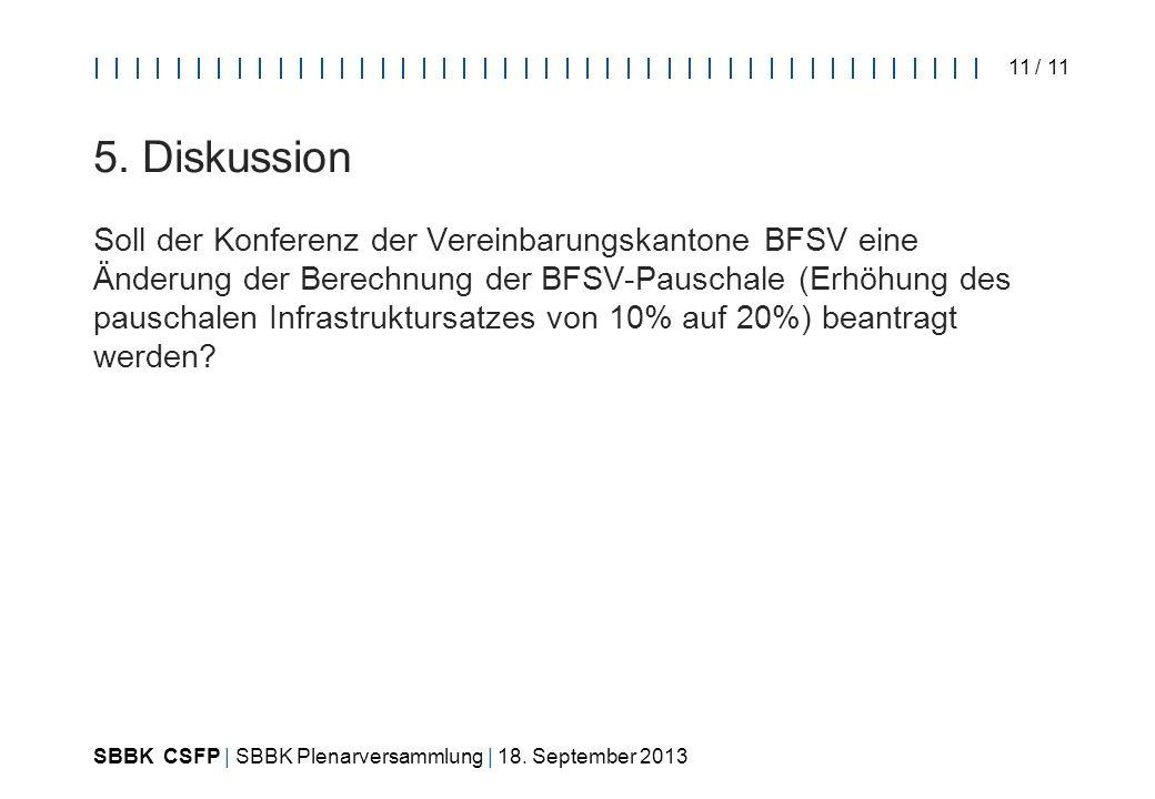 SBBK CSFP | SBBK Plenarversammlung | 18. September 2013 11 / 11 5.