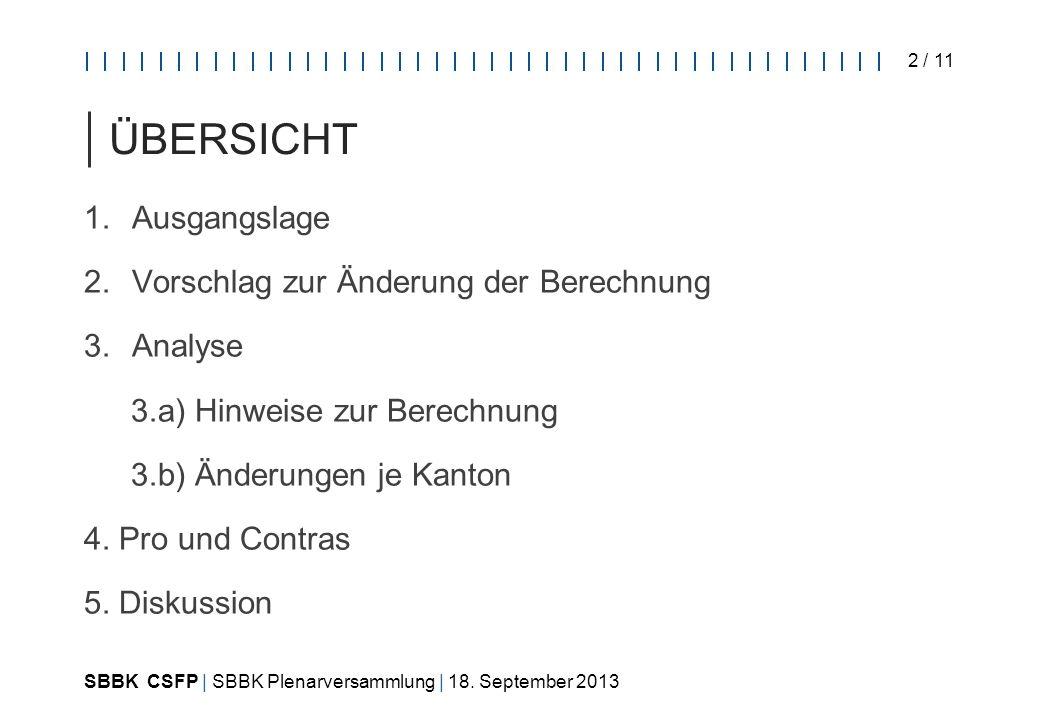 SBBK CSFP   SBBK Plenarversammlung   18.September 2013 3 / 11 1.