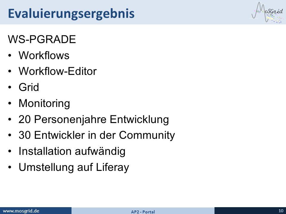 www.mosgrid.de Evaluierungsergebnis 10 AP2 - Portal WS-PGRADE Workflows Workflow-Editor Grid Monitoring 20 Personenjahre Entwicklung 30 Entwickler in