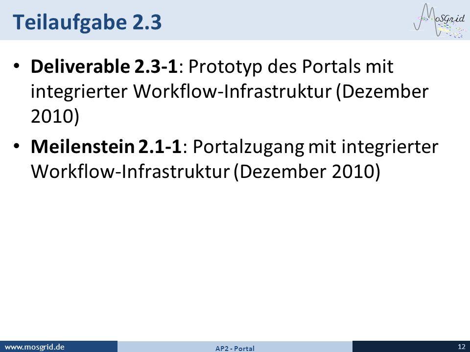 www.mosgrid.de Teilaufgabe 2.3 Deliverable 2.3-1: Prototyp des Portals mit integrierter Workflow-Infrastruktur (Dezember 2010) Meilenstein 2.1-1: Port