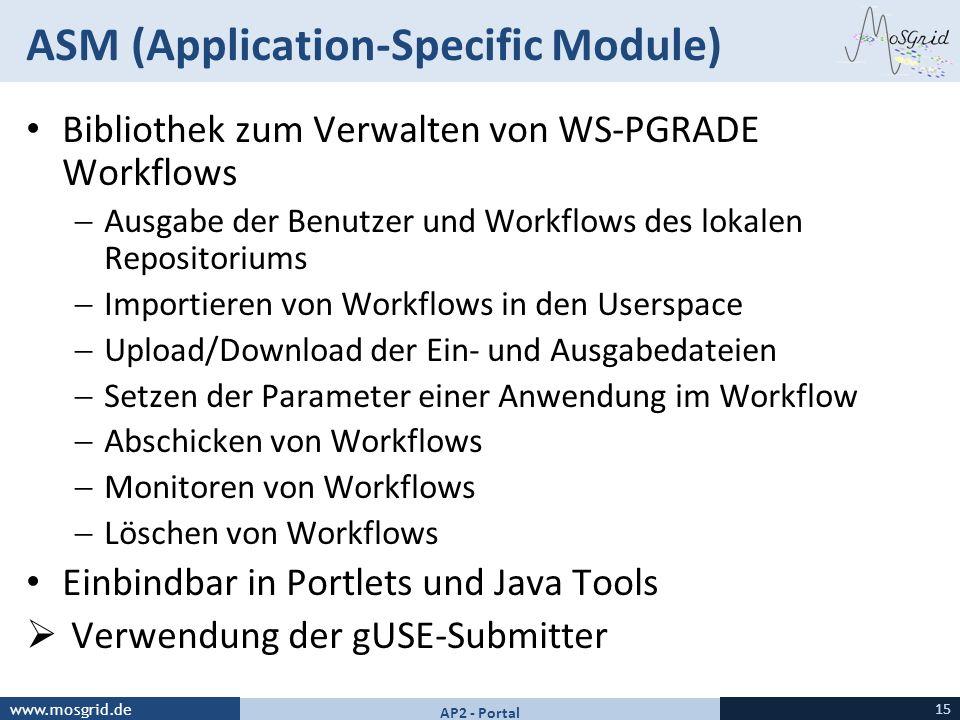 www.mosgrid.de ASM (Application-Specific Module) Bibliothek zum Verwalten von WS-PGRADE Workflows Ausgabe der Benutzer und Workflows des lokalen Repos