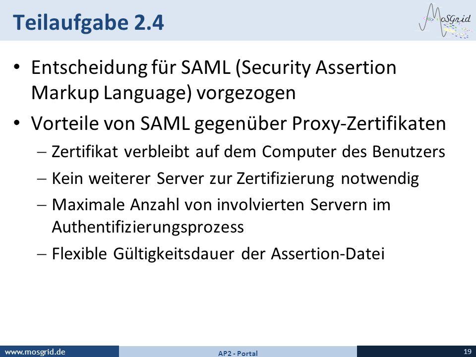 www.mosgrid.de Teilaufgabe 2.4 Entscheidung für SAML (Security Assertion Markup Language) vorgezogen Vorteile von SAML gegenüber Proxy-Zertifikaten Ze