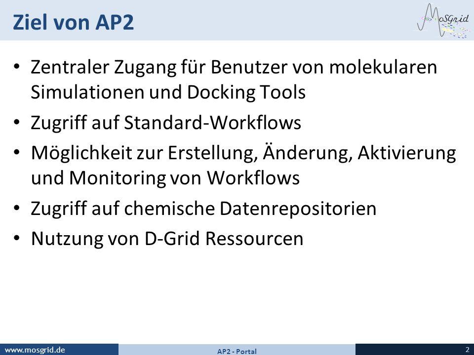 www.mosgrid.de Ziel von AP2 Zentraler Zugang für Benutzer von molekularen Simulationen und Docking Tools Zugriff auf Standard-Workflows Möglichkeit zu