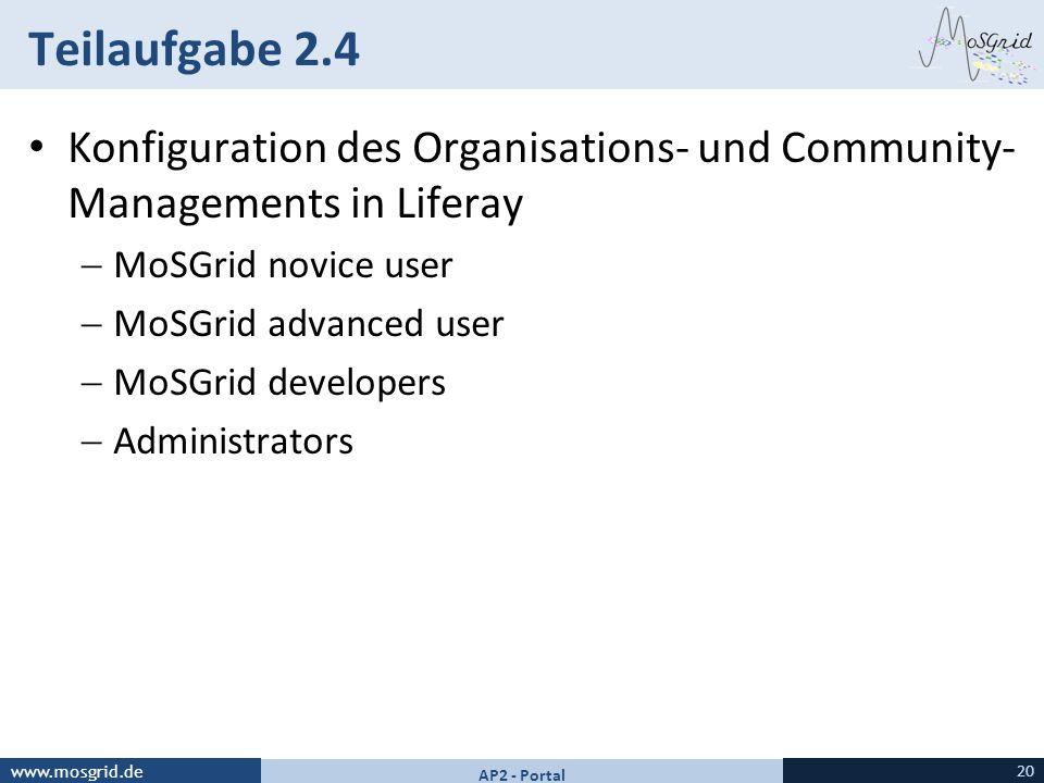 www.mosgrid.de Teilaufgabe 2.4 Konfiguration des Organisations- und Community- Managements in Liferay MoSGrid novice user MoSGrid advanced user MoSGri