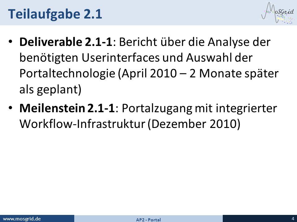 www.mosgrid.de Teilaufgabe 2.1 Deliverable 2.1-1: Bericht über die Analyse der benötigten Userinterfaces und Auswahl der Portaltechnologie (April 2010