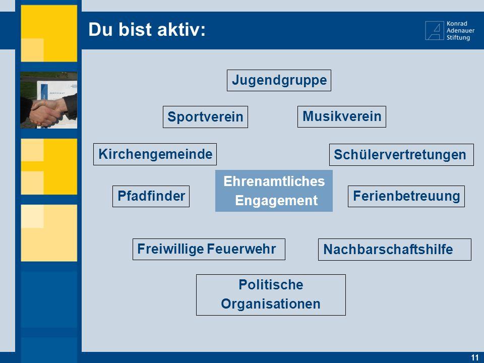 Du bist aktiv: 11 Ehrenamtliches Engagement 11 Freiwillige Feuerwehr Kirchengemeinde Ferienbetreuung Musikverein Politische Organisationen Nachbarscha