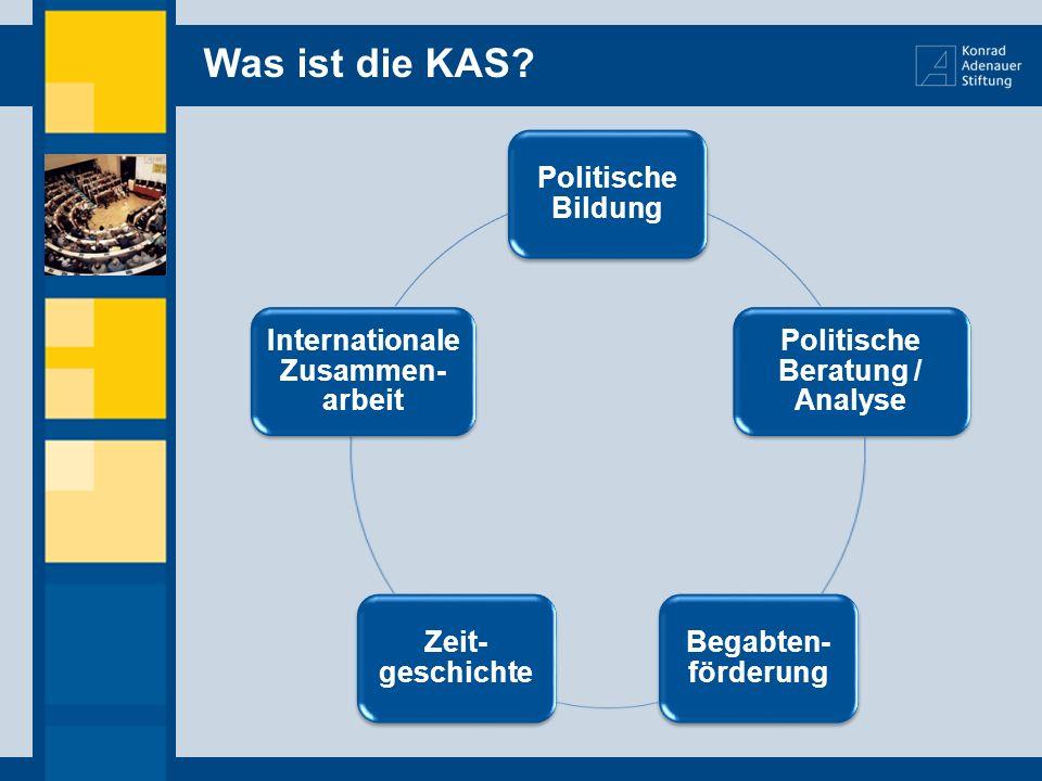 Was ist die KAS? Politische Bildung Politische Beratung / Analyse Begabten- förderung Zeit- geschichte Internationale Zusammen- arbeit