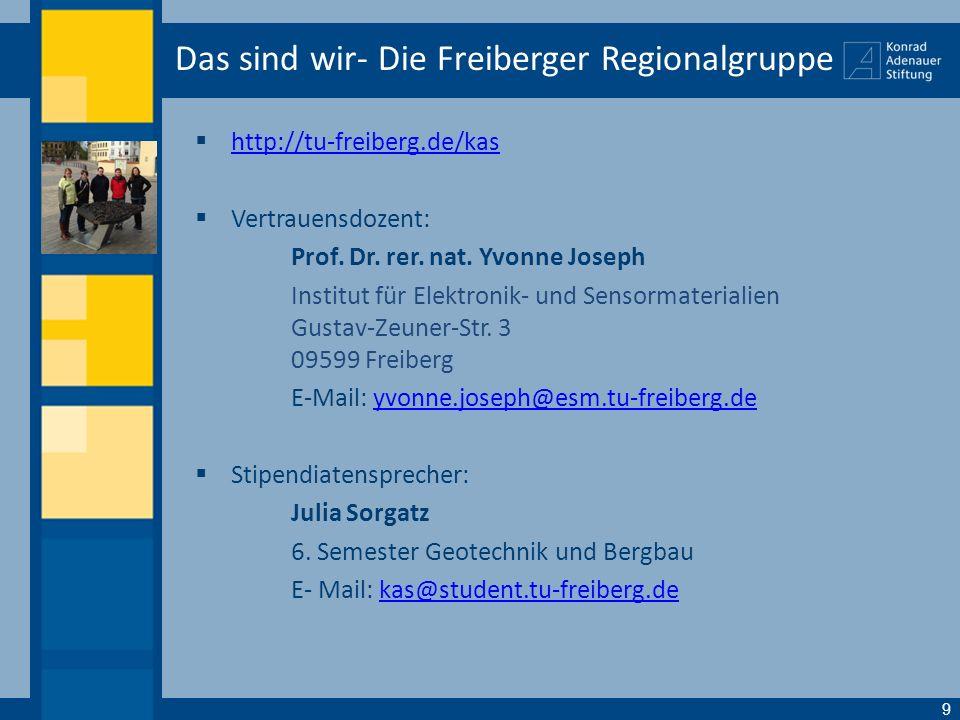 Das sind wir- Die Freiberger Regionalgruppe http://tu-freiberg.de/kas Vertrauensdozent: Prof. Dr. rer. nat. Yvonne Joseph Institut für Elektronik- und