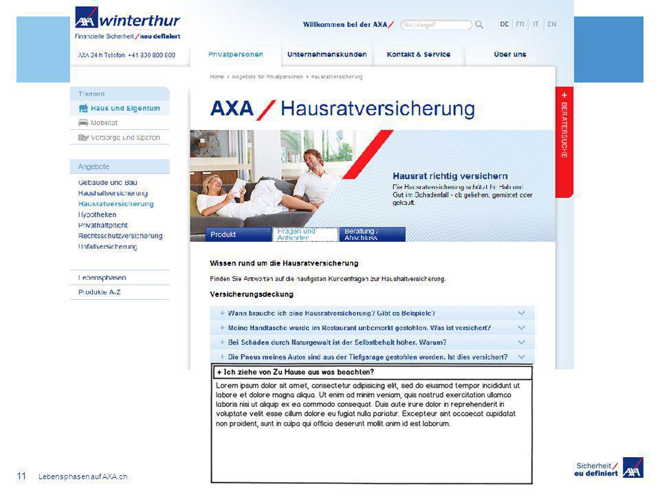 Lebensphasen auf AXA.ch 11
