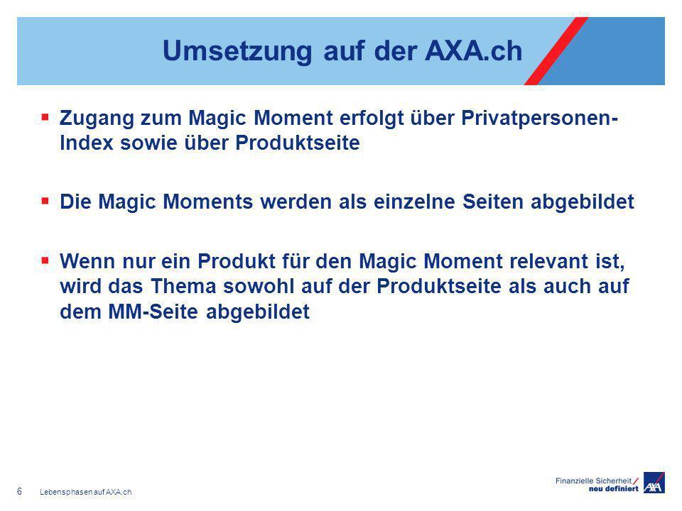 Umsetzung auf der AXA.ch Zugang zum Magic Moment erfolgt über Privatpersonen- Index sowie über Produktseite Die Magic Moments werden als einzelne Seit