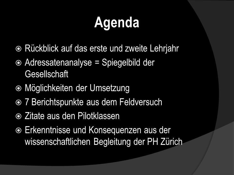 Agenda Rückblick auf das erste und zweite Lehrjahr Adressatenanalyse = Spiegelbild der Gesellschaft Möglichkeiten der Umsetzung 7 Berichtspunkte aus dem Feldversuch Zitate aus den Pilotklassen Erkenntnisse und Konsequenzen aus der wissenschaftlichen Begleitung der PH Zürich