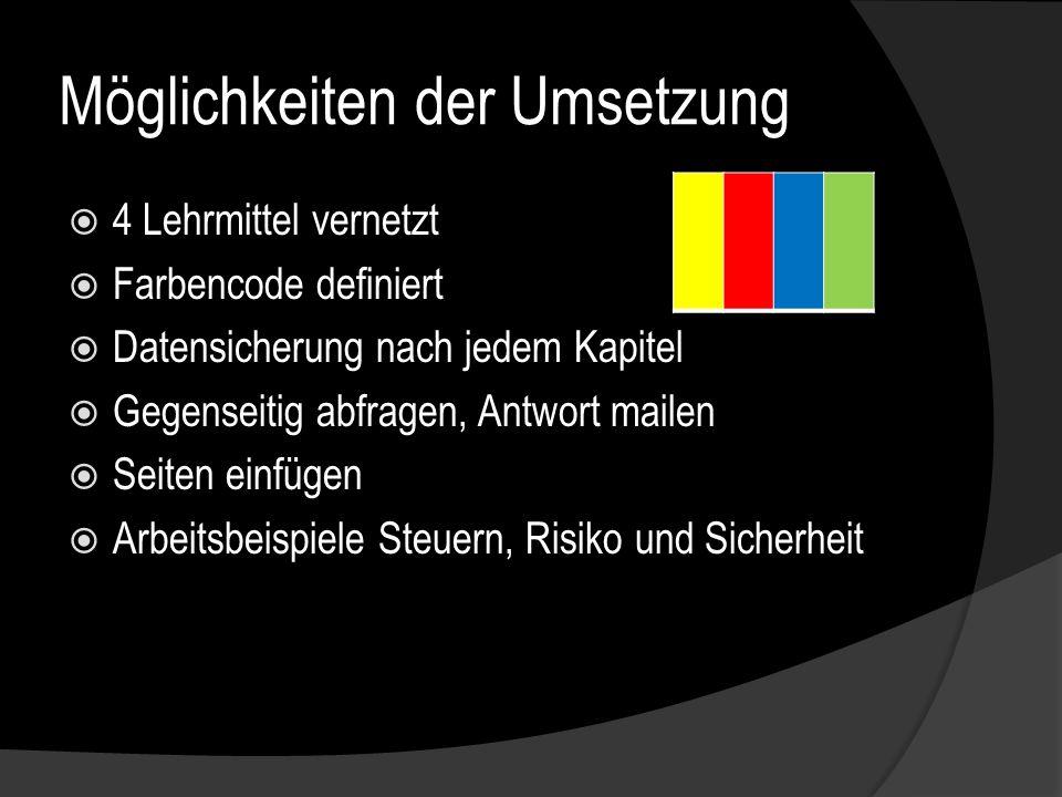 Möglichkeiten der Umsetzung 4 Lehrmittel vernetzt Farbencode definiert Datensicherung nach jedem Kapitel Gegenseitig abfragen, Antwort mailen Seiten einfügen Arbeitsbeispiele Steuern, Risiko und Sicherheit BLAUBLAU GRÜNGRÜN