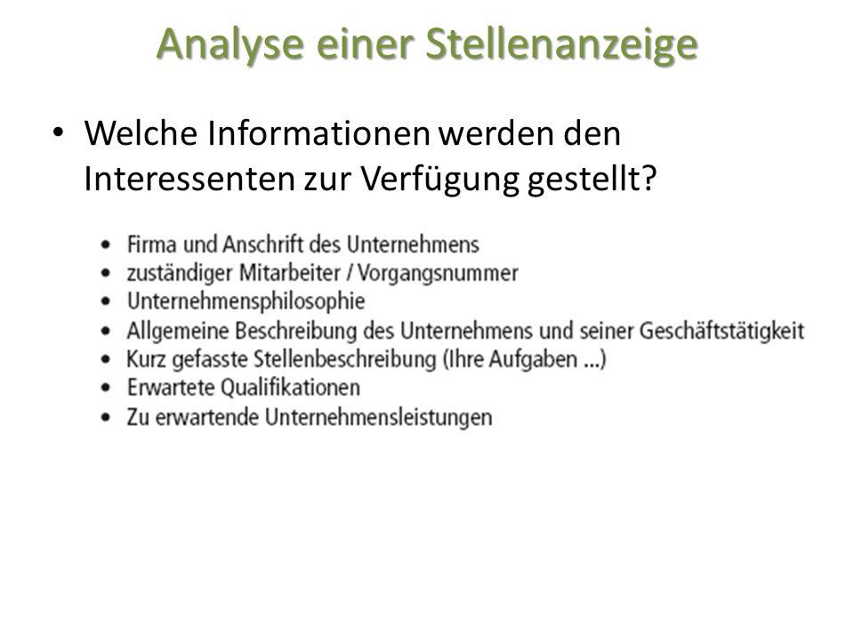 Analyse einer Stellenanzeige Welche Informationen werden den Interessenten zur Verfügung gestellt?