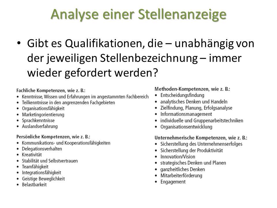 Analyse einer Stellenanzeige Gibt es Qualifikationen, die – unabhängig von der jeweiligen Stellenbezeichnung – immer wieder gefordert werden?