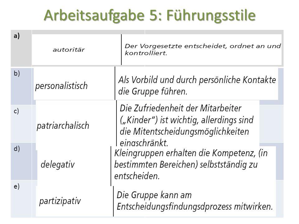 Arbeitsaufgabe 5: Führungsstile a) b) c) d) e)
