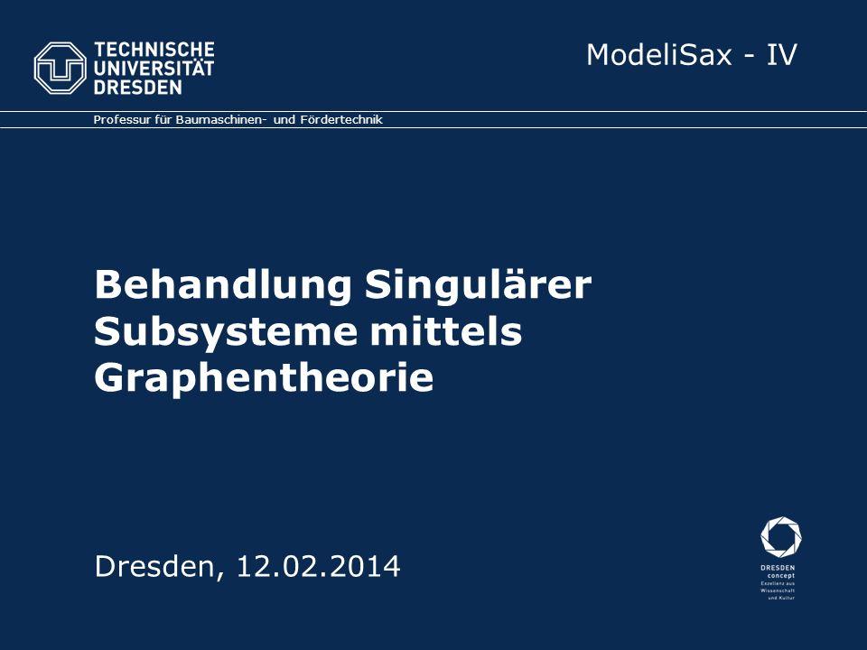 Behandlung Singulärer Subsysteme mittels Graphentheorie Professur für Baumaschinen- und Fördertechnik Dresden, 12.02.2014 ModeliSax - IV