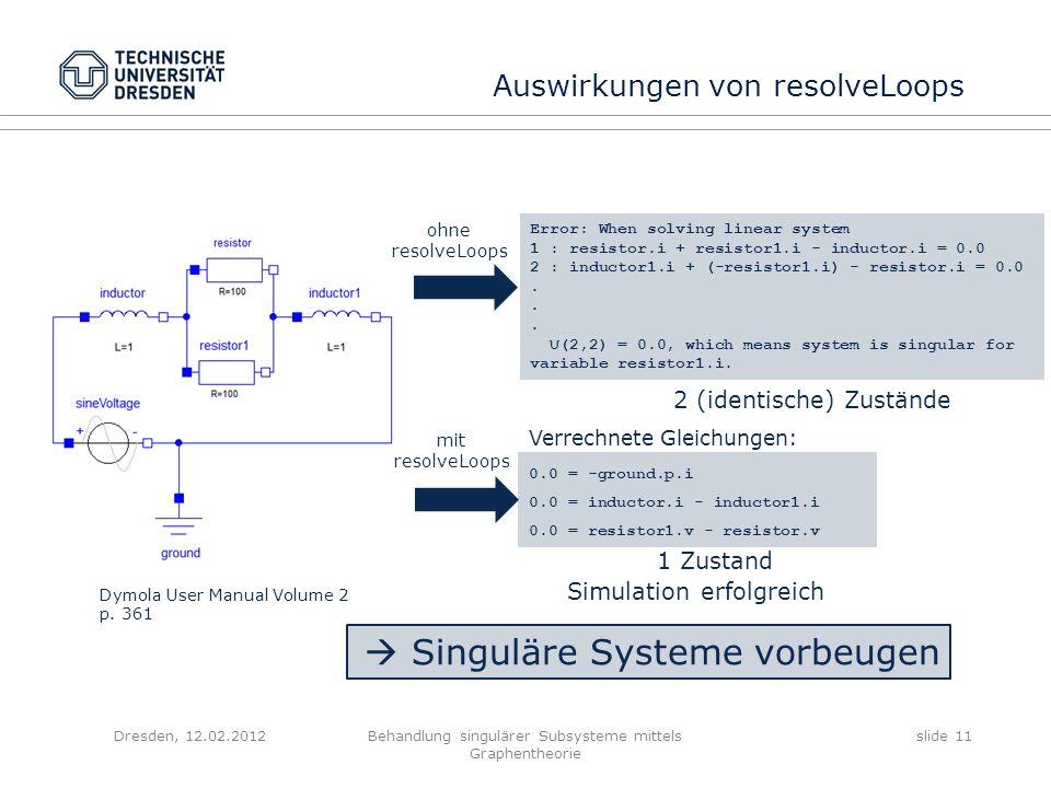 Dresden, 12.02.2012Behandlung singulärer Subsysteme mittels Graphentheorie slide 11 Auswirkungen von resolveLoops Dymola User Manual Volume 2 p. 361 E