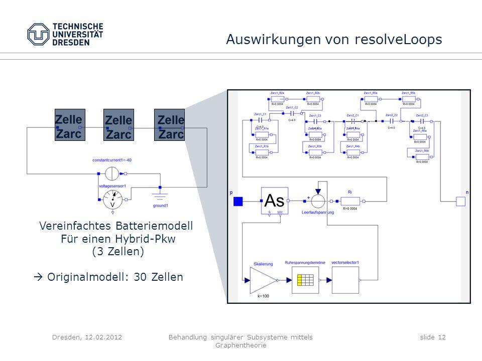 Dresden, 12.02.2012Behandlung singulärer Subsysteme mittels Graphentheorie slide 12 Auswirkungen von resolveLoops Vereinfachtes Batteriemodell Für ein