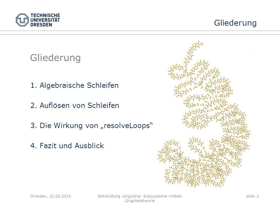 Dresden, 12.02.2012Behandlung singulärer Subsysteme mittels Graphentheorie slide 13 Auswirkungen von resolveLoops bipartiter Graph der zu verrechnenden Schleifen Stromgleichungen Spannungsgleichungen