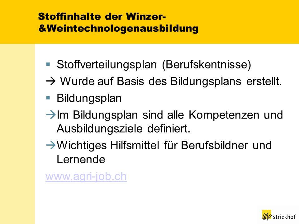 Stoffinhalte der Winzer- &Weintechnologenausbildung Stoffverteilungsplan (Berufskentnisse) Wurde auf Basis des Bildungsplans erstellt. Bildungsplan Im