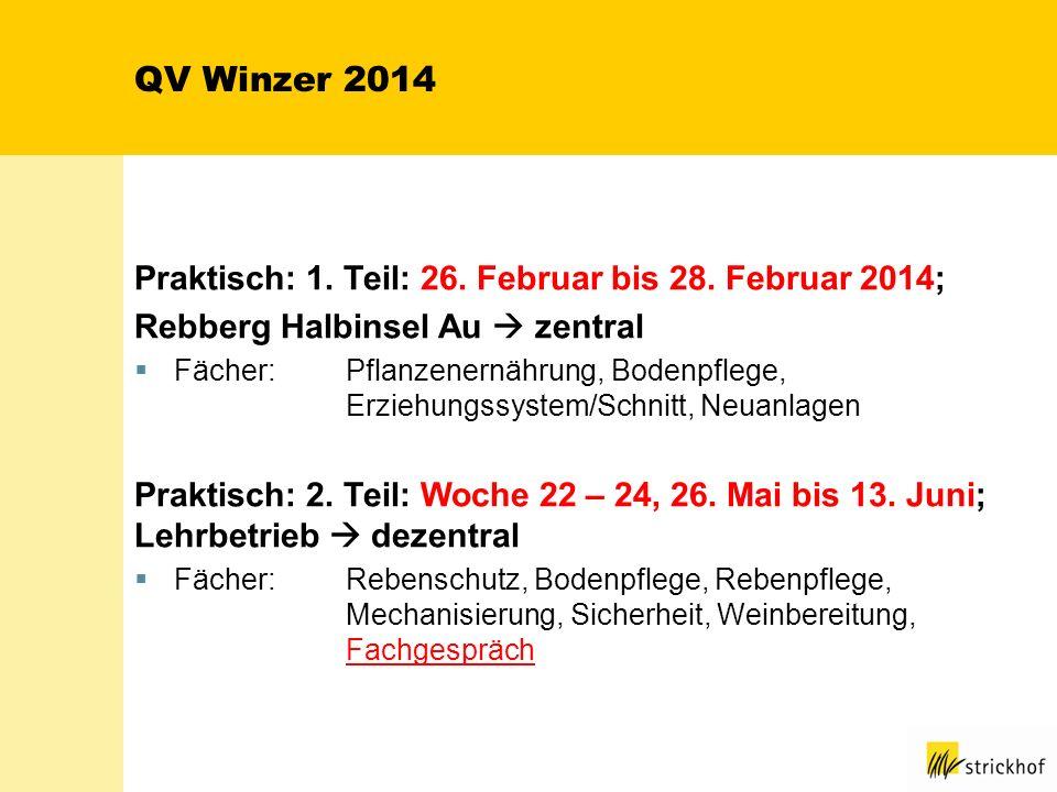QV Winzer 2014 Praktisch: 1. Teil: 26. Februar bis 28. Februar 2014; Rebberg Halbinsel Au zentral Fächer:Pflanzenernährung, Bodenpflege, Erziehungssys