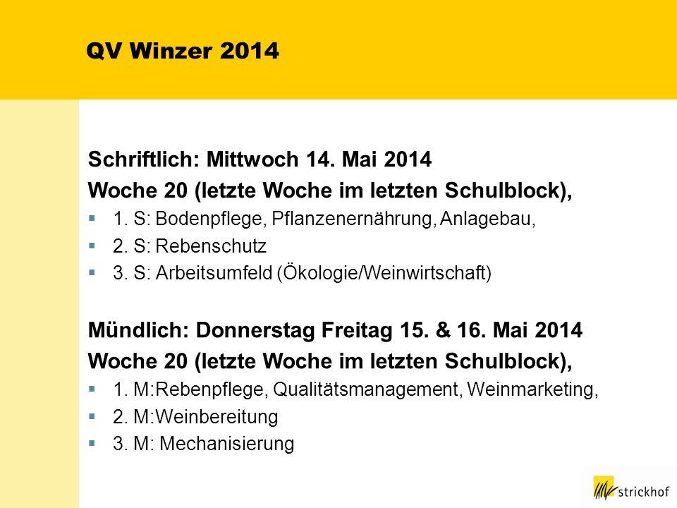 QV Winzer 2014 Schriftlich: Mittwoch 14. Mai 2014 Woche 20 (letzte Woche im letzten Schulblock), 1. S:Bodenpflege, Pflanzenernährung, Anlagebau, 2. S: