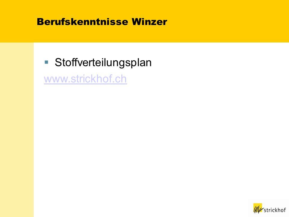 Berufskenntnisse Winzer Stoffverteilungsplan www.strickhof.ch