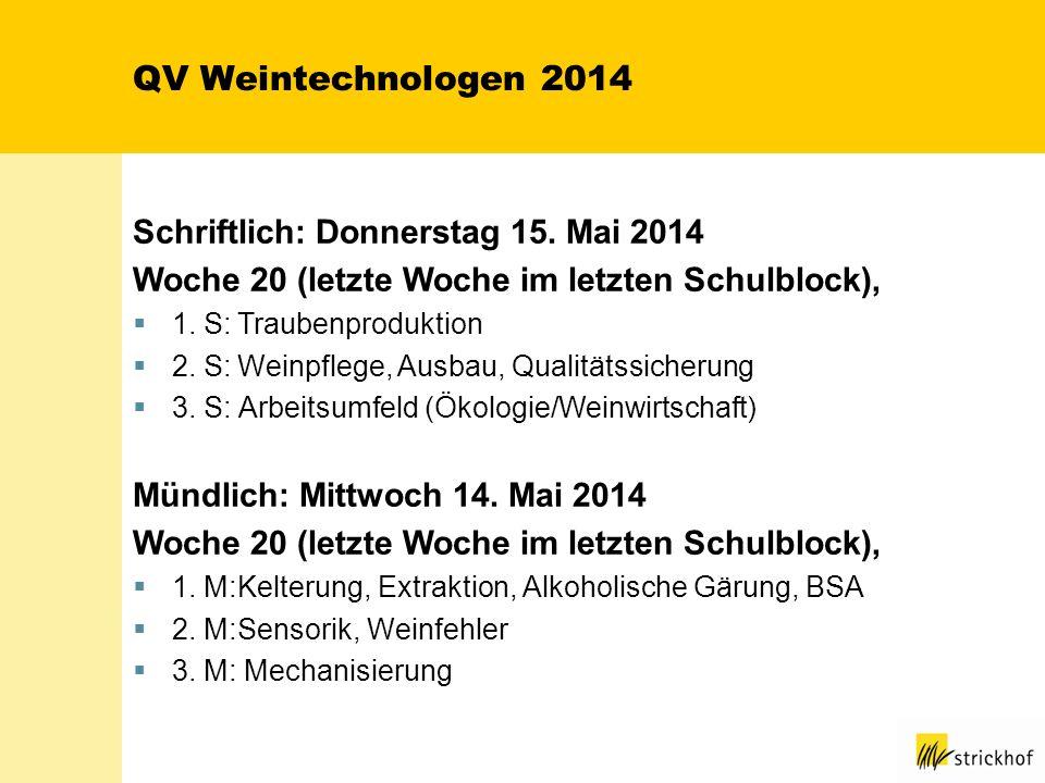 QV Weintechnologen 2014 Schriftlich: Donnerstag 15. Mai 2014 Woche 20 (letzte Woche im letzten Schulblock), 1. S:Traubenproduktion 2. S:Weinpflege, Au