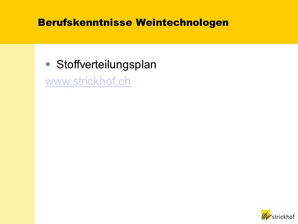 Berufskenntnisse Weintechnologen Stoffverteilungsplan www.strickhof.ch