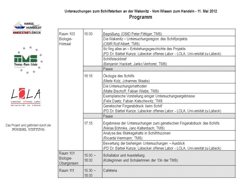 Raum 103 Biologie- Hörsaal 15:00Begrüßung (OStD Peter Flittiger; TMS) Die Wakenitz – Untersuchungsregion des Schilfprojekts (OStR Rolf Albert; TMS) So