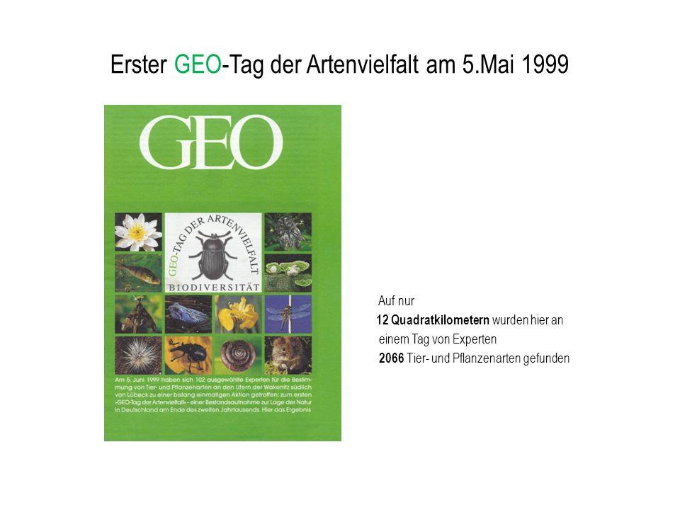 Erster GEO-Tag der Artenvielfalt am 5.Mai 1999 Auf nur 12 Quadratkilometern wurden hier an einem Tag von Experten 2066 Tier- und Pflanzenarten gefunde