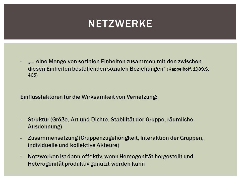 NETZWERKE -… eine Menge von sozialen Einheiten zusammen mit den zwischen diesen Einheiten bestehenden sozialen Beziehungen (Kappelhoff, 1989,S. 465) E