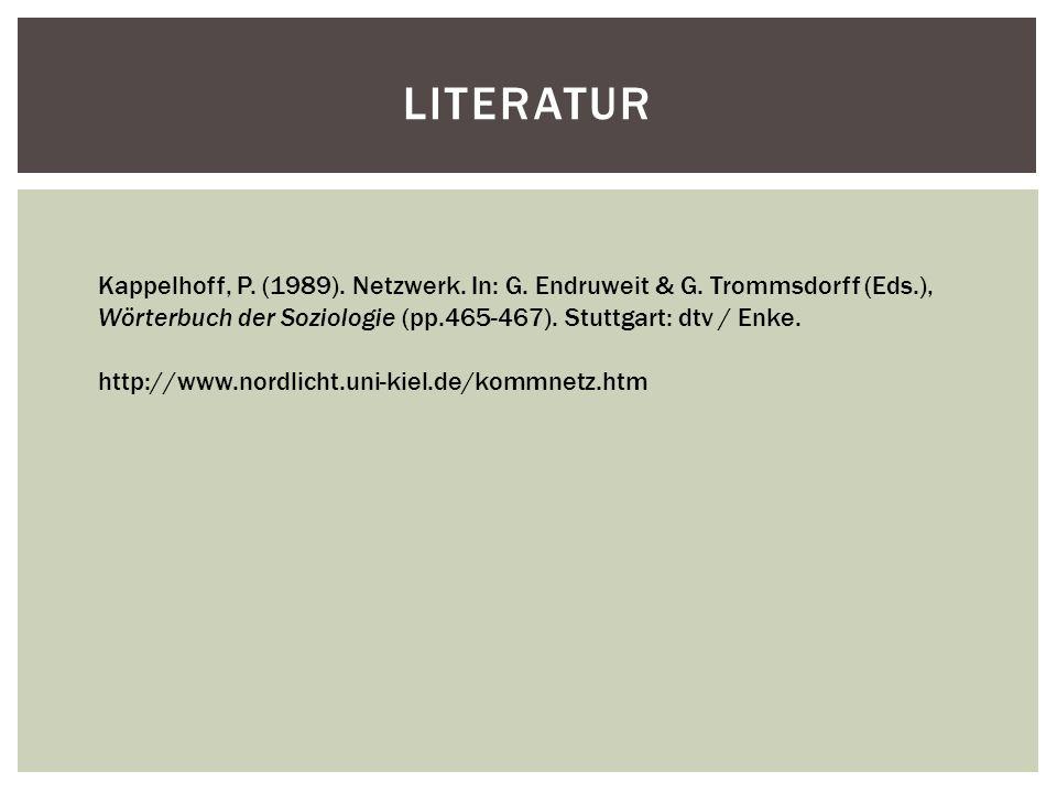 LITERATUR Kappelhoff, P. (1989). Netzwerk. In: G. Endruweit & G. Trommsdorff (Eds.), Wörterbuch der Soziologie (pp.465-467). Stuttgart: dtv / Enke. ht
