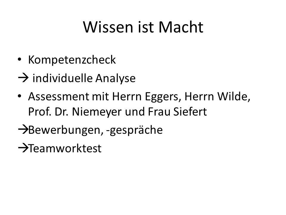Wissen ist Macht Kompetenzcheck individuelle Analyse Assessment mit Herrn Eggers, Herrn Wilde, Prof.
