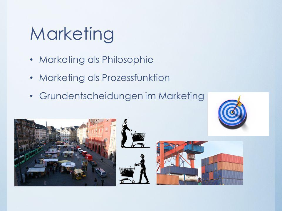 Marketing Marketing als Philosophie Marketing als Prozessfunktion Grundentscheidungen im Marketing
