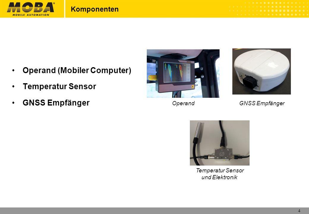 4 Komponenten Operand (Mobiler Computer) Temperatur Sensor GNSS Empfänger Temperatur Sensor und Elektronik Operand